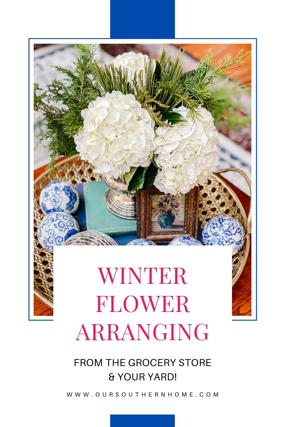 winter flower arranging with blue and white accents