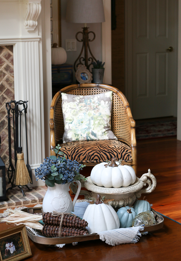 pumpkins and chair