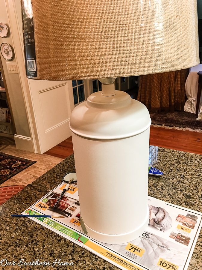 Shades of Blue Thrift Store lamp Makeover with stencil!
