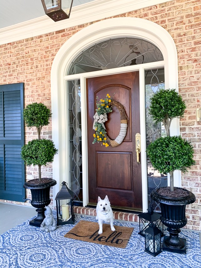 front porch with dog