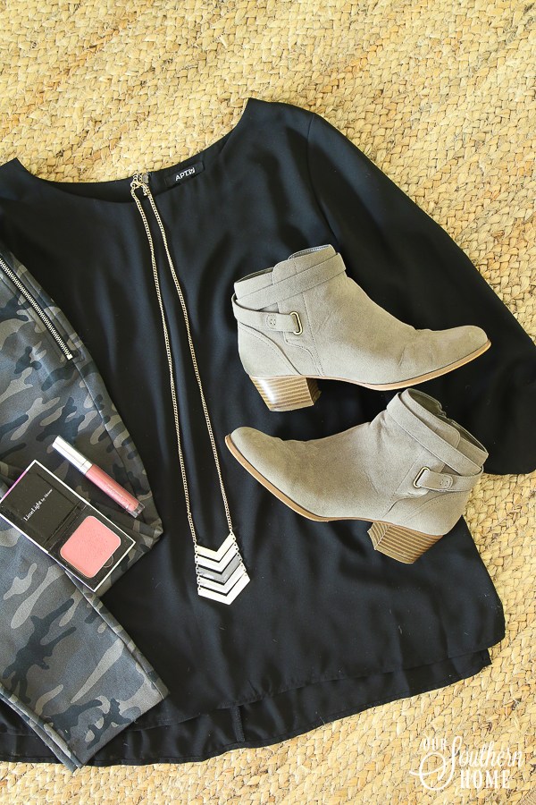 Trendy, yet classy look with the new camo look for fall! #fallfashion #camofashion #over40fashion