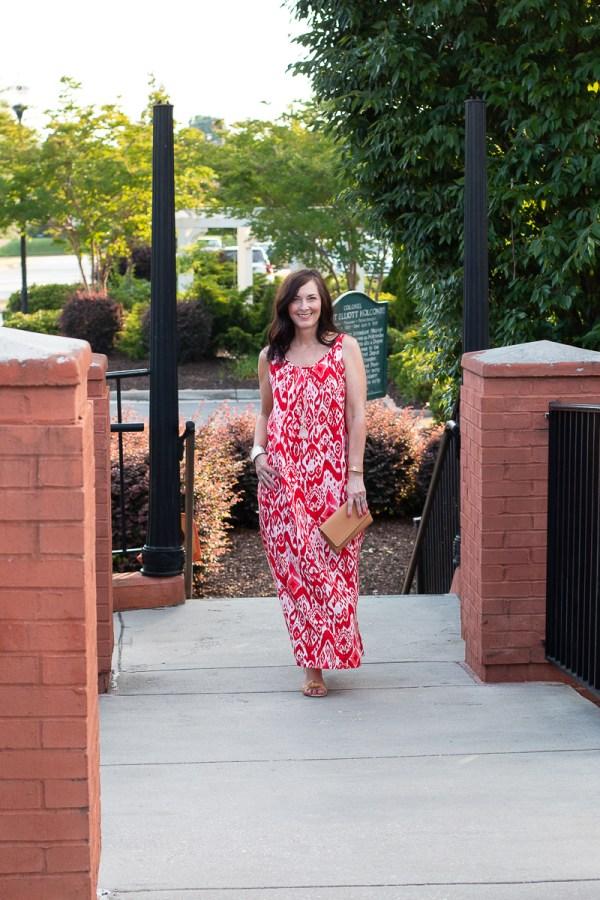 red ikat dress