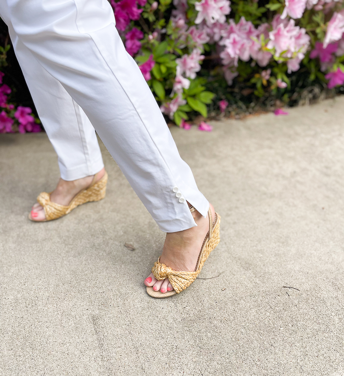 sandals and white pants