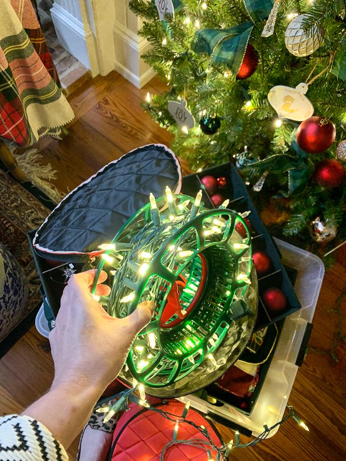 Christmas lights on a reel