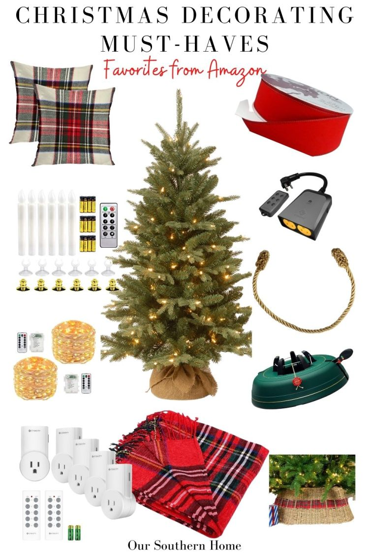 graphic collage of different Christmas decorating must-haves