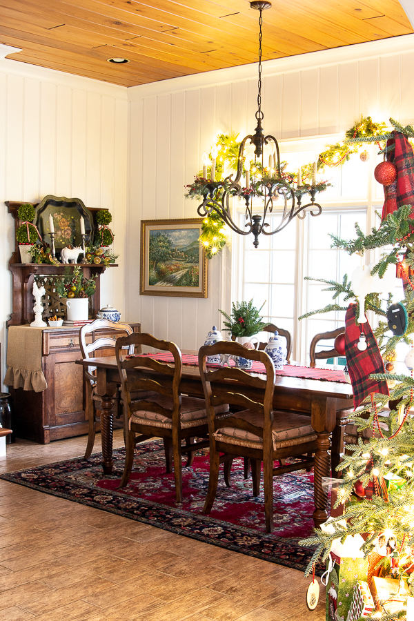 breakfast room decorated for Christmas