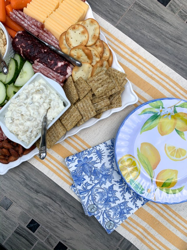 charcuterie board with lemon plates