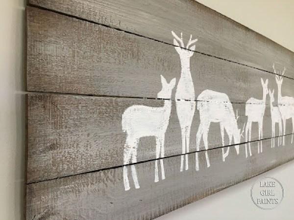 close up planked deer art