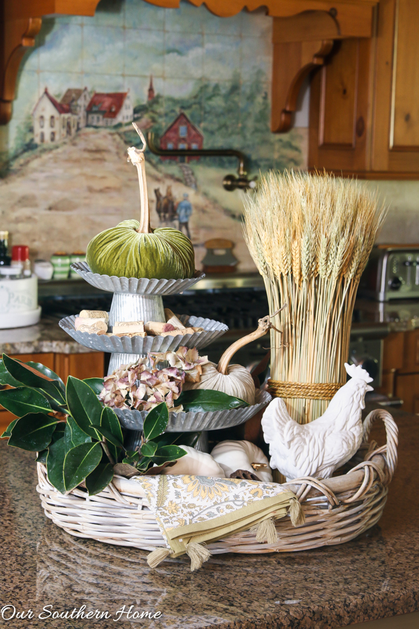 Ideas for decorating with cake stands via Our Southern Home