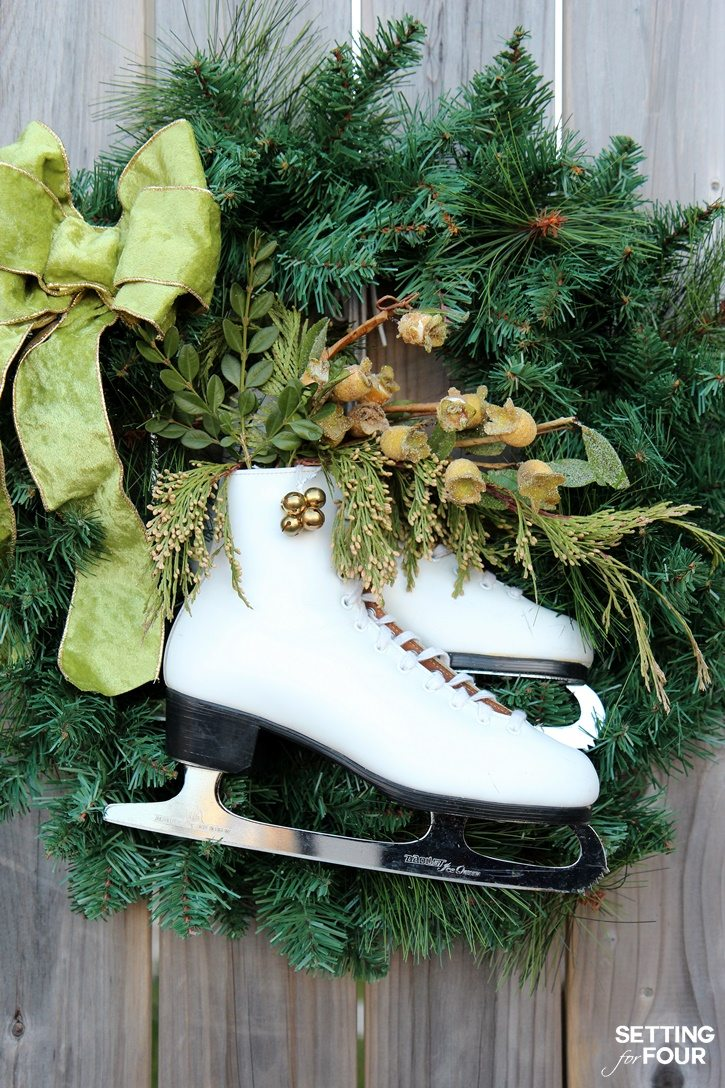 DIY Ice Skate Wreath