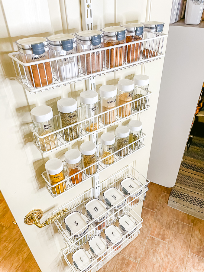 pantry door rack with spice containers