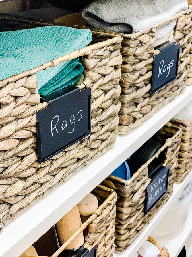 baskets in a kitchen pantry