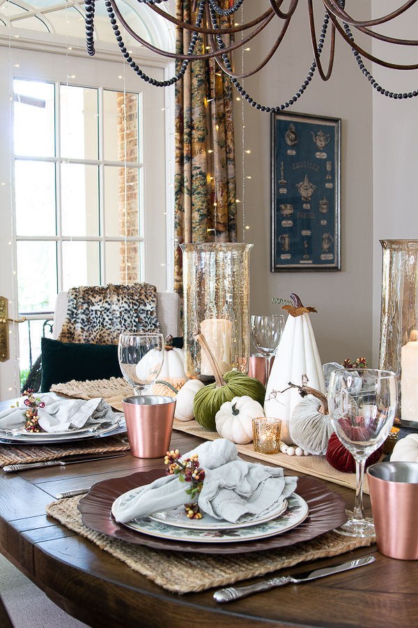 fall dining room with faux pumpkins