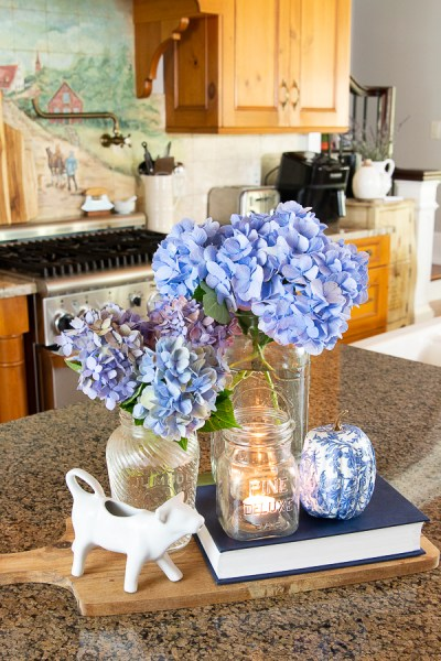 floral arrangement on a kitchen counter