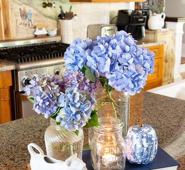 floral arrangement on a kitchen counter