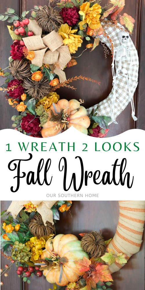 fall wreath with a skeleton