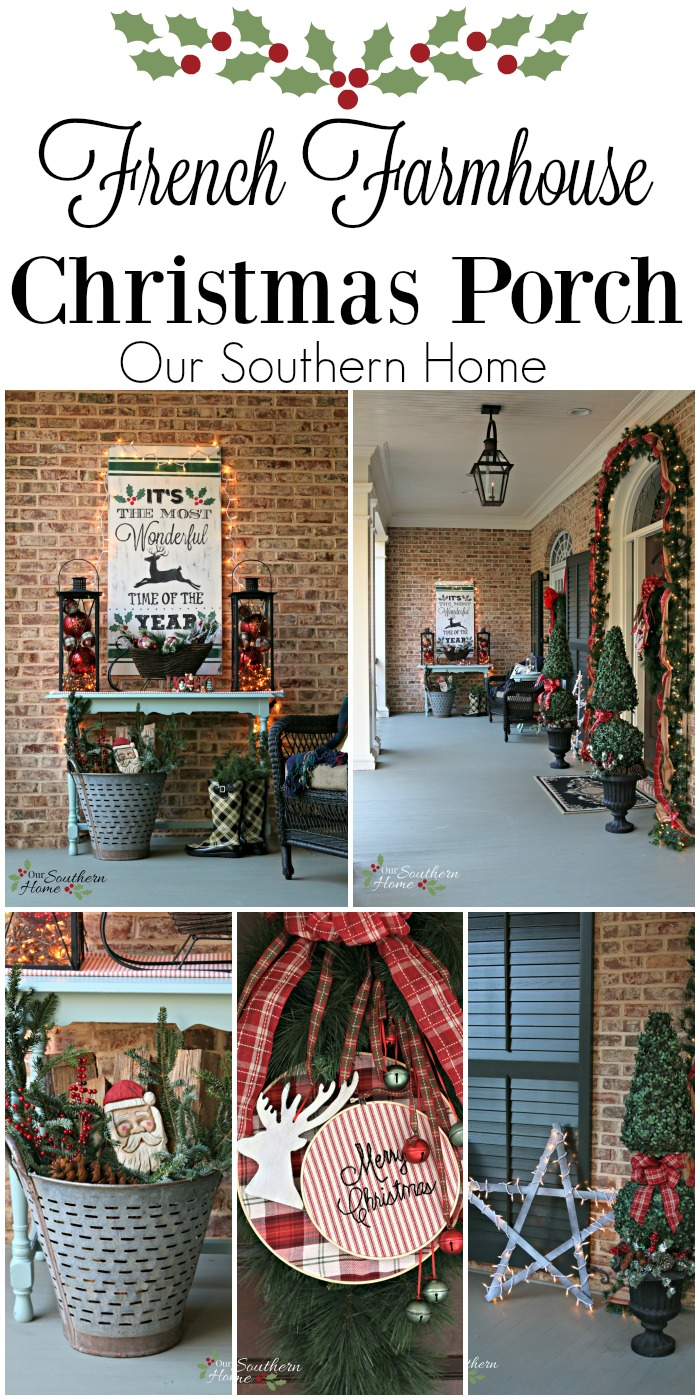 french farmhouse exterior / Christmas Front Porch / www.oursouthernhomesc.com