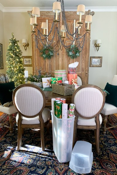 gift wrapping in the dining room