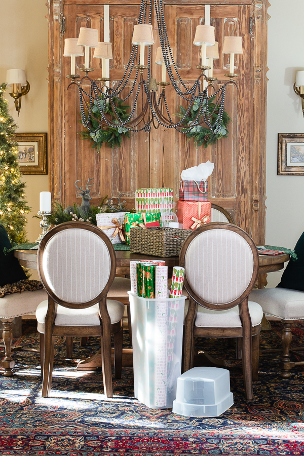 gift wrap center in a dining room