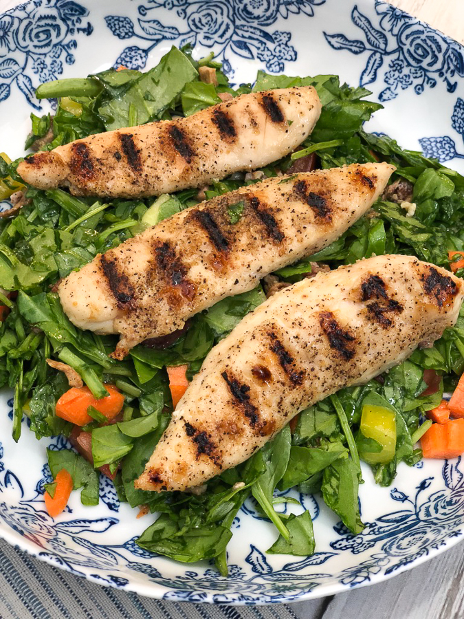 Being an Empty Nester means getting more active and maintaining my health by staying active and making good choices. This Lemon & Herb Grilled Chicken Salad is my got-to lunch. #ad #emptynest #lunch #salad #recipe