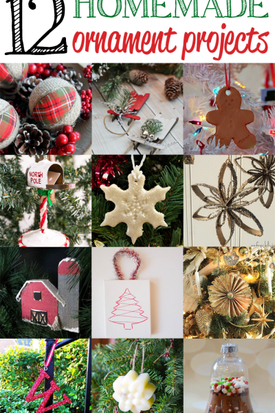 12 Homemade Christmas Ornaments from the features at Inspiration Monday link party!