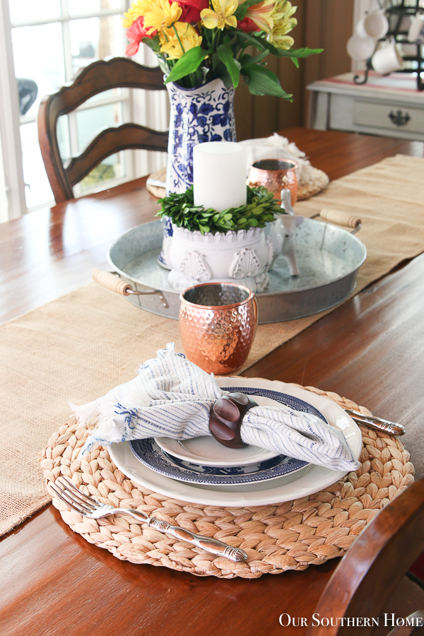 copper mugs with table setting