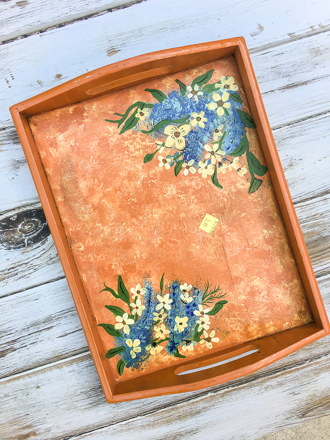 Thrift store tray makeover with a masculine look for a college apartment. #thriftstore #makeover #tray #apartmentdecor #college