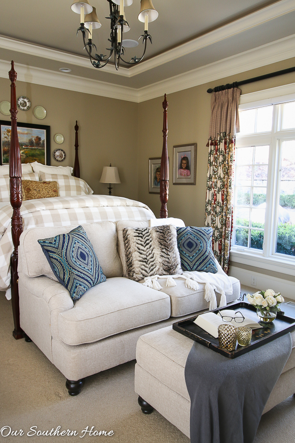 New Loveseat in the master bedroom makes for a lovely makeover!