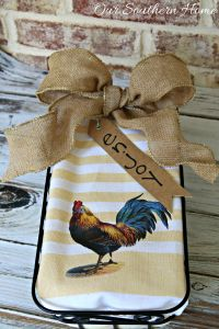 No Sew Rooster Kitchen Towel