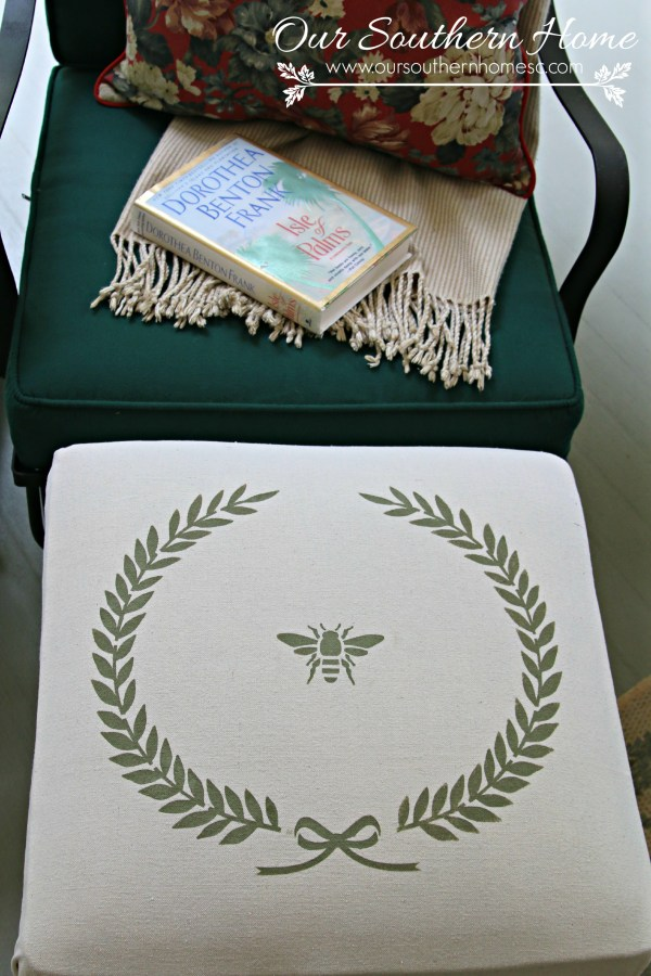 No sew stenciled drop cloth outdoor ottoman by Our Southern Home