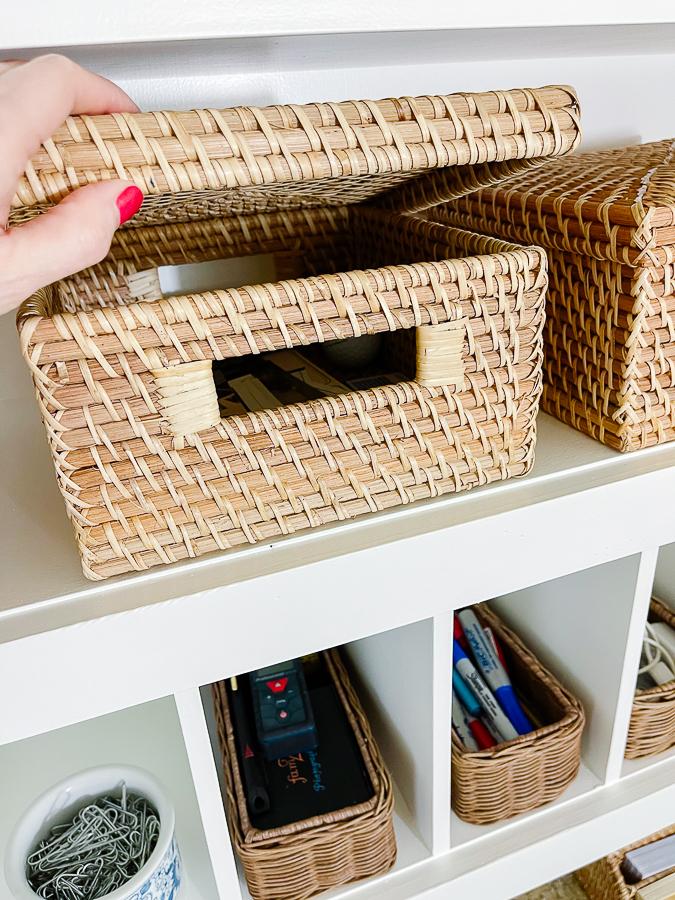 letter box on shelf