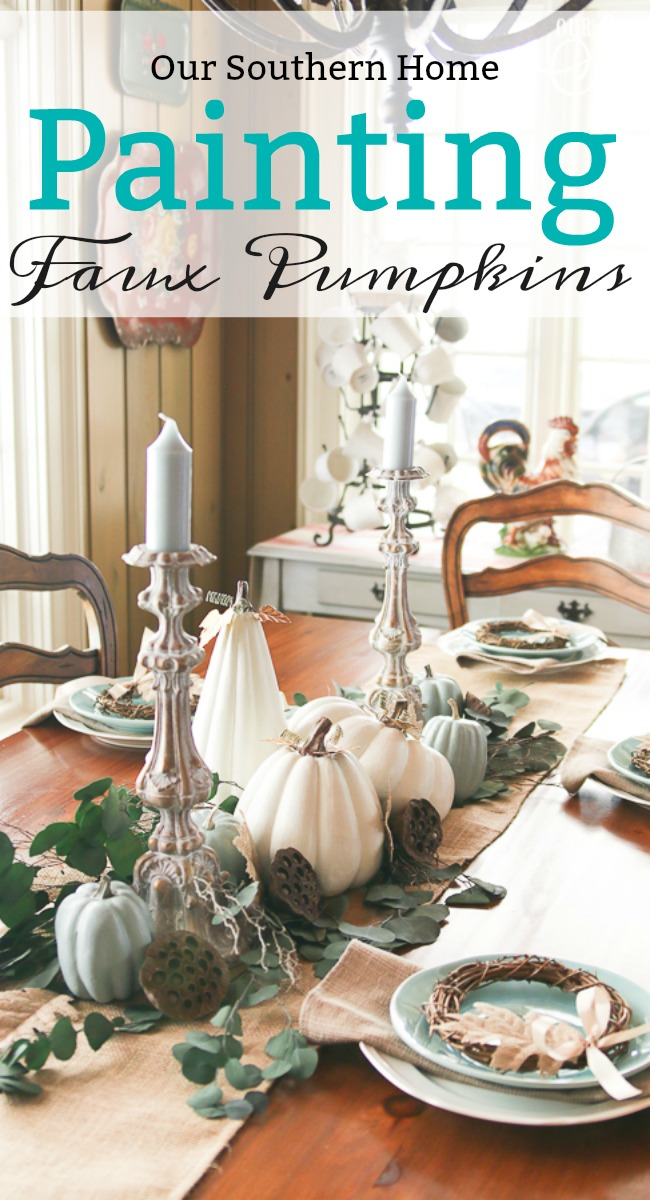 Make over old faded thrift store faux pumpkins with paint for a fresh new look!