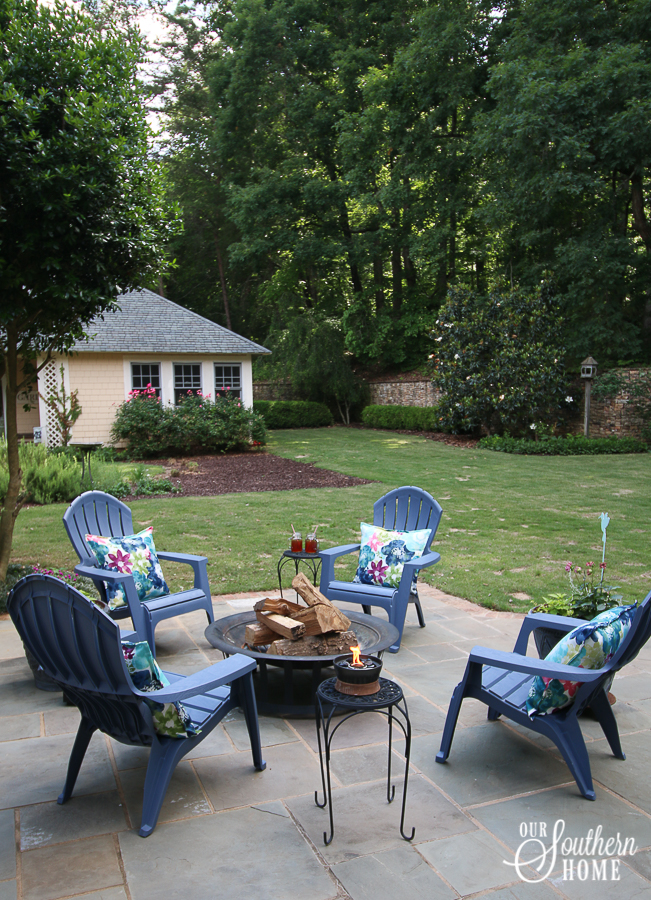 Ideas for southern outdoor living! Welcome to this large front porch and backyard terrace area.