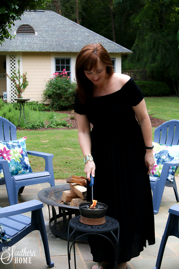 Patio fire-pit refresh just in time for Father's Day! #ad #TrueValue