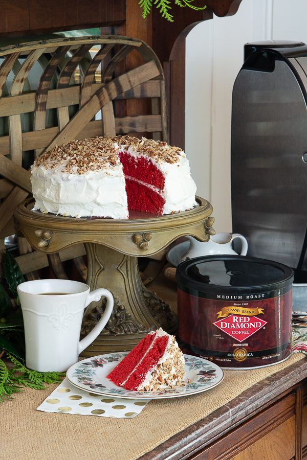 red velvet cake on a dessert bar for the holidays with coffee