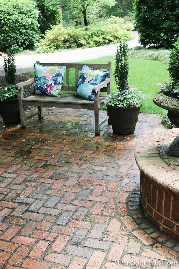 brick patio with planters