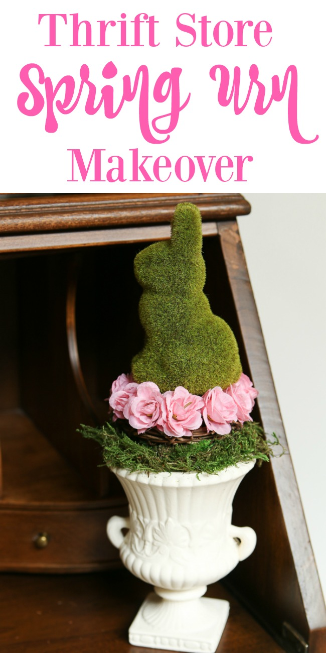 Spring urn thrift store makeover decor challenge! Join us monthly for inspiration. #easter #spring #springdecor #springfloral #thriftstoremakeover