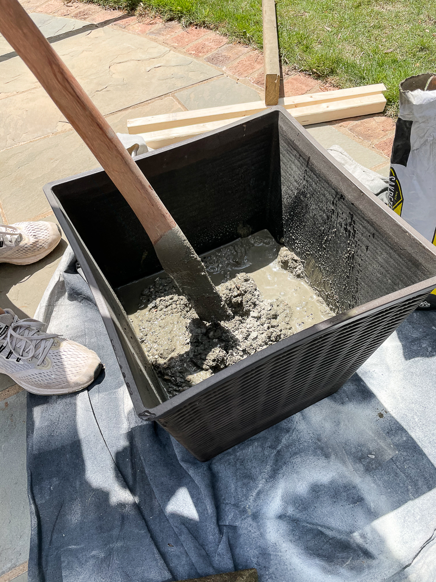 stirring concrete