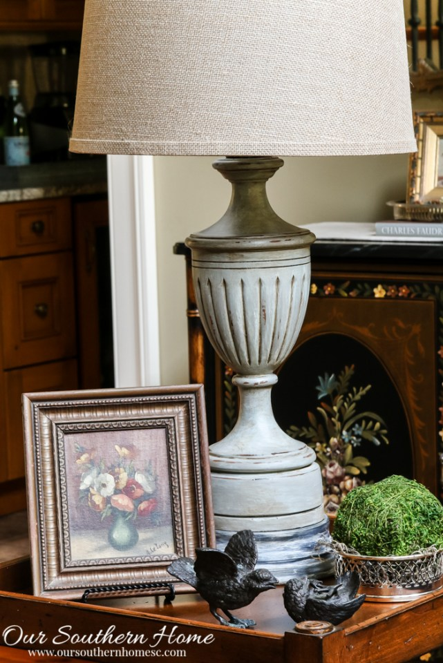 Thrift store lamp makeover with a weathered finish by Our Southern Home