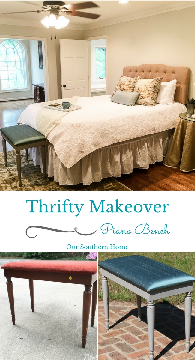 Thrift store piano bench makeover! Get so many great ideas that you can incorporate into your home decor!