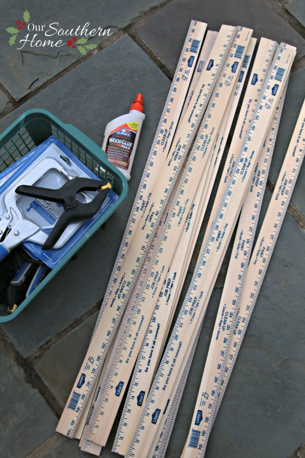 Supplies for Simple DIY / Weathered yardstick stars by www.oursouthernhomesc.com