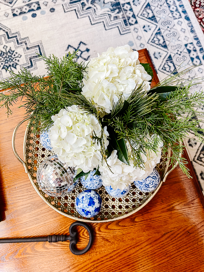 floral arrangement with blue and white porcelain