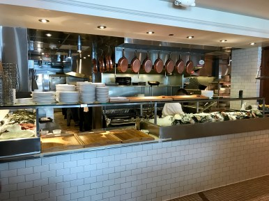 open kitchen view of the seafood bar