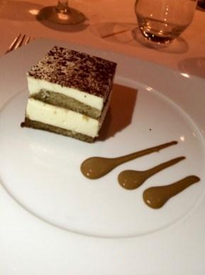 Tiramisu with a double espresso sauce