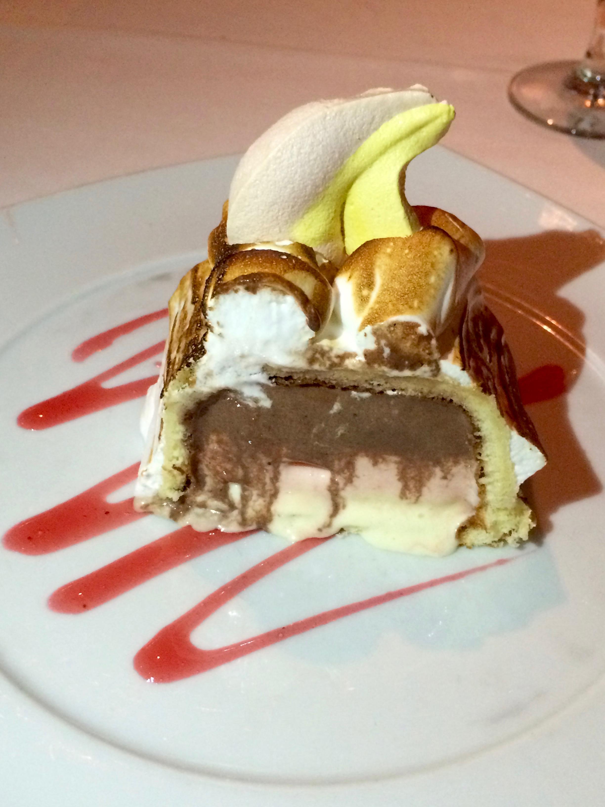 Celebrity Signature Baked Alaska - neapolitan ice cream covered with vanilla sponge and a soft meringue