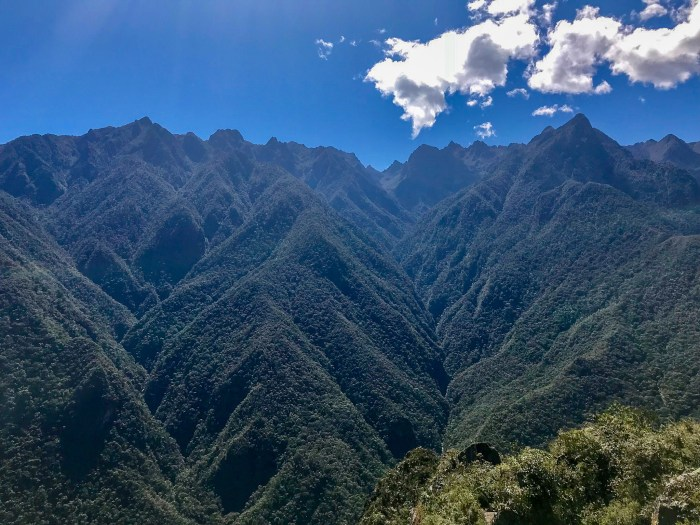 Incredible and continuous Andes Mountain range view from Huayna Picchu
