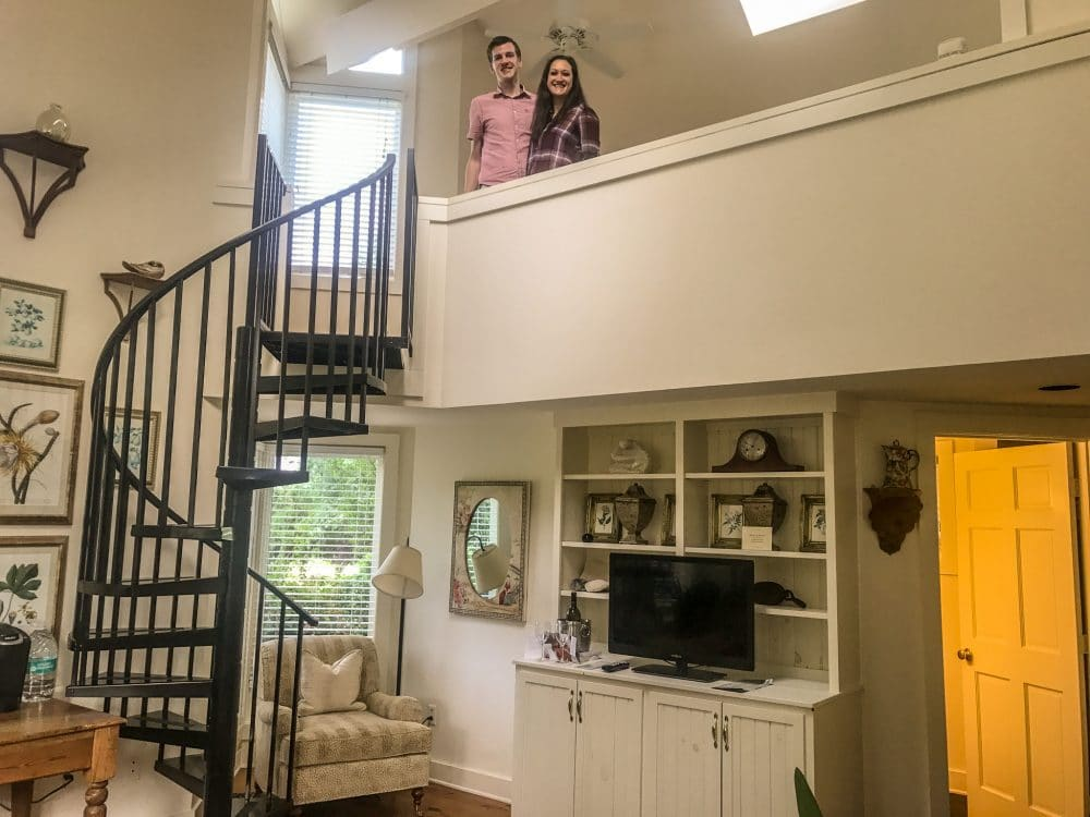 Loving our room with an awesome staircase at the Farmhouse at Veritas