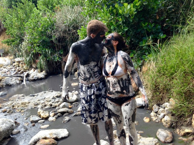 Enjoying a romantic mud bath in St. Lucia's Sulphur Springs