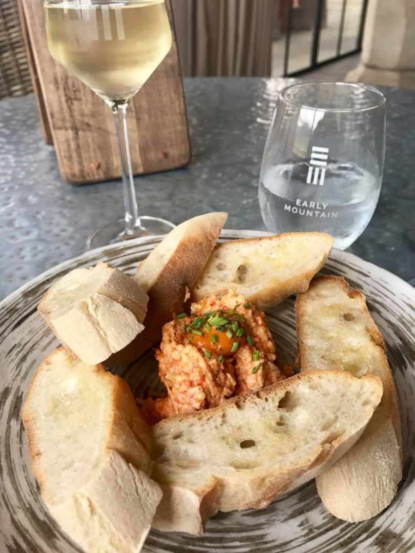 Enjoying the best pimento cheese at one of the best Charlottesville wineries