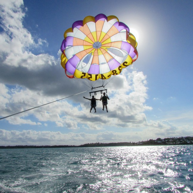 Having the time of our lives parasailing in Bermuda over turquoise blue waters. This is definitely one of the best activities in Bermuda